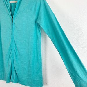 J. Jill Jackets & Coats - J. Jill Teal Zip Front Slub Hoodie Jacket Women XS